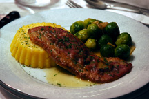 Veal Saltimbocca with Polenta and Sautéed Baby Brussels sprouts